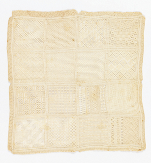 Sampler with sixteen squares of drawnwork with embroidery.