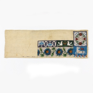 Unfinished beadwork sampler with five patterns: two floral borders, one stylized and one naturalistic; two confronted birds; a wreath with the initial M; and an agnus dei.