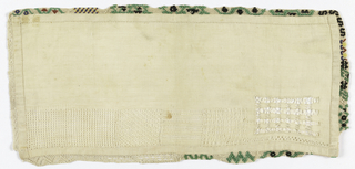 Unfinished sampler with five withdrawn element patterns in white, beadwork, and needle lace edge.