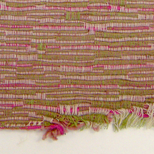Sample of hand woven cotton in which the warps are much thinner and more tightly twisted than the loosely-twisted, slubby wefts. The wefts are grouped in combinations which vary across the width of the fabric, giving a meandering, rather than strictly grid-like, appearance. Light green and ivory warps; rose and hot pink wefts.