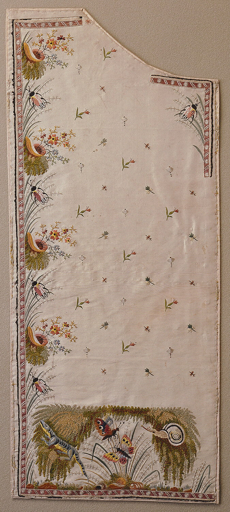 Left front of gentleman's waistcoat with embroidered design of a lizard, snail, crickets, and butterflies.