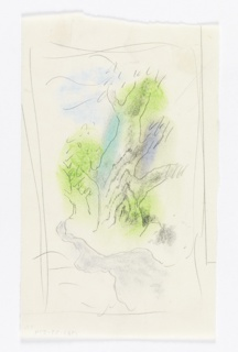 "Study for ""Spring in the Country"" Poster. Large tree in bright green, turquoise and purple, in an abstracted, roughly rendered landscape. To the left, a smaller tree, depicted as if in the distance."