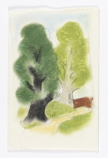 "Study for the ""Wooded Landscape Scene"" Poster. Two large trees with bright green fluffy leaves; a wooden fence at right. Rough pencil framing lines on three sides."