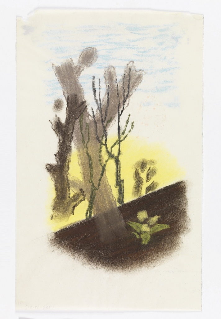 "Study for a ""Spring in the Countryside"" poster for the London Transport. At center, large, bare, gray trees on a yellow background and blue sky. Below, an abstracted plant or flower against the brown ground."