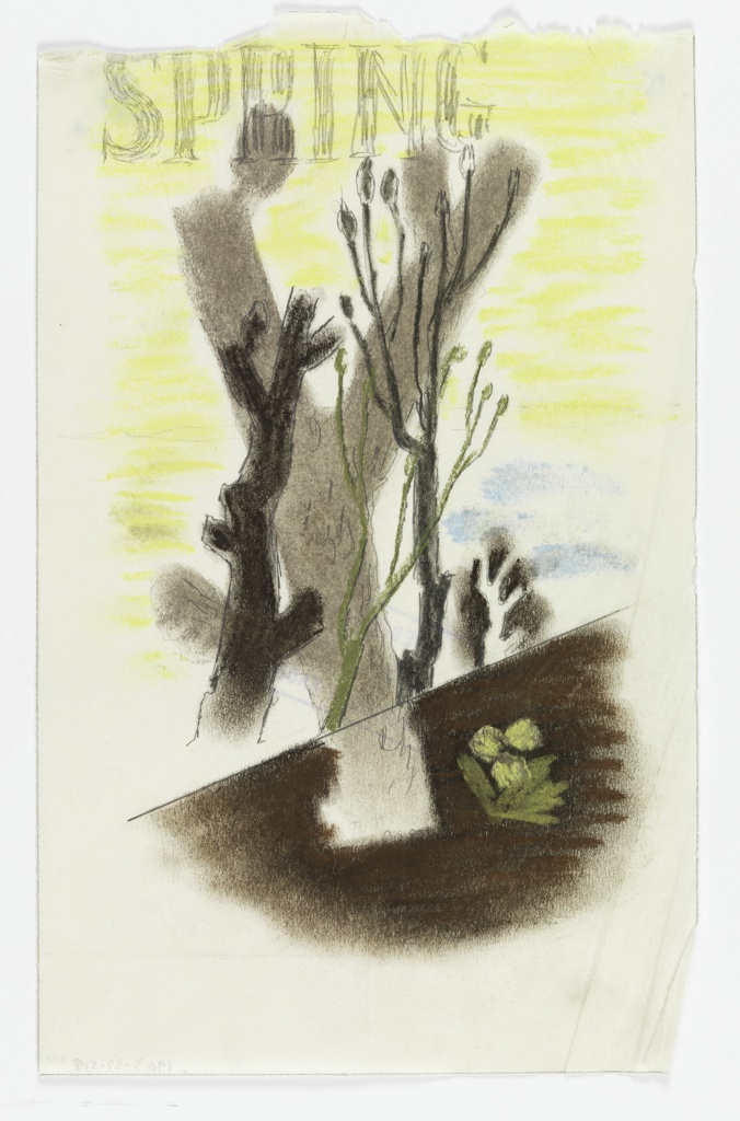 """Study for a """"Spring in the Countryside"""" poster for the London Transport. At center, large, bare, gray trees on a yellow background and blue sky. Below, an abstracted plant or flower against the brown ground. At top, in gray text: SPRING"""