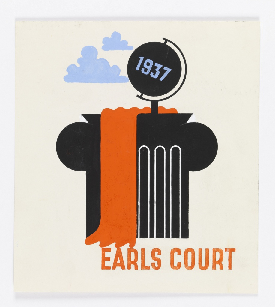 Likely, a study for a poster advertising Earls Court for the London Passenger Transport Board. Abstracted black fluted column with red drapery, topped with black globe with 1937 in blue; clouds in background. Below, in red: EARLS COURT.
