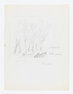 "Study for ""The New Forest, See Britain First on Winter Shell"" poster. Rough sketches of several trees, with logs lying in the foreground."