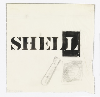 As though stenciled, in black: SHELL. Below, an image of a brush and an unidentifiable square object.