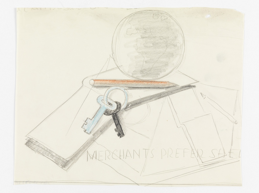 "Study for a ""Merchants Prefer Shell"" poster. At center top, a globe sits atop an open book, resting on a platform with a colored pencil (shaded orange), and keys on a ring in blue and black. Below in block text: MERCHANTS PREFER SHEL [sic]."