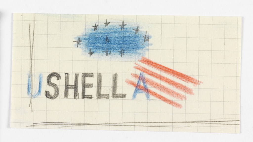 """Study for a Shell advertisement. In black sans-serif type, at lower left: SHELL. To the left in blue serif type: U; to the right: A. Four diagonally-oriented red stripes bisect the blue """"A"""". Above this grouping, 10 black stars are superimposed over an oval-shaped, blue ground. A vertical black line runs down the left side of the page, and a horizontal black line runs across the bottom of the page."""
