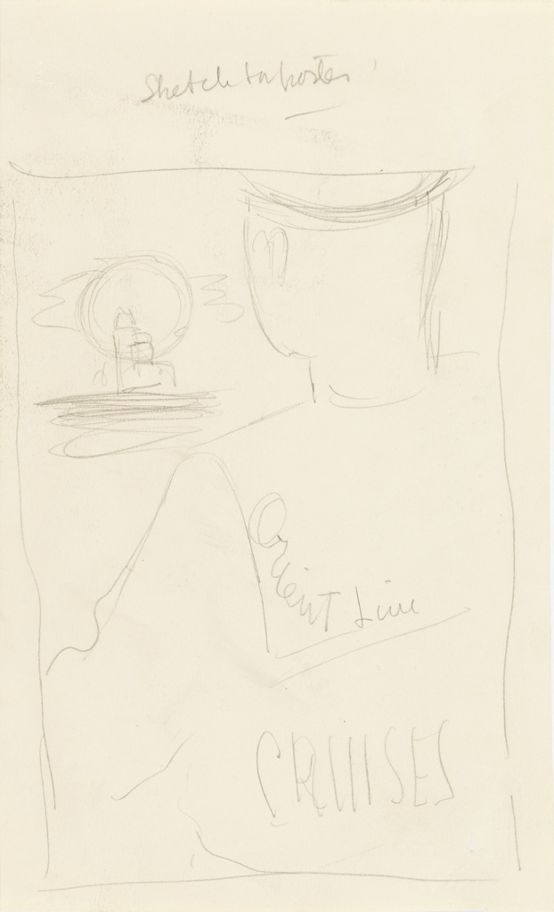 Study for an Orient Line poster or advertisement. Sketch of a man in a sailor's uniform, seen from behind. Inscribed in graphite on the back of his costume, center: Orient Line / CRUISES. He gazes into the distance, towards the horizon where there is a large sun and what could be a grouping of skyscrapers.