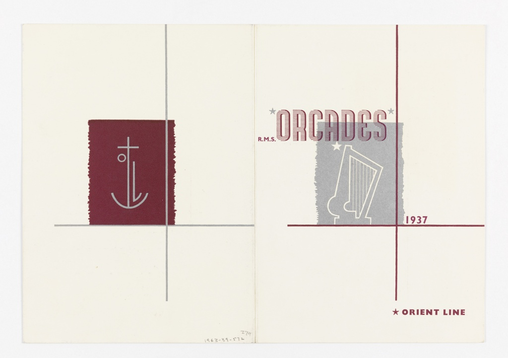 Design for a brochure's cover for the Orient Line's R.M.S. Orcades. On front cover (right), a grey square superimposed with the white outline of a harp and a white star. Text in white and burgundy, upper right: R.M.S. ORCADES / 1937 / ORIENT LINE. On back cover (left) on a burgundy square [Kauffer's symbol for the Orient Line].