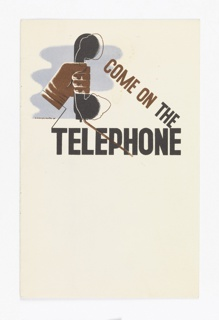 Cover design for a folder. On a white ground, a hand holding a black telephone receiver against a blue ground with text in brown and black: COME ON THE / TELEPHONE.
