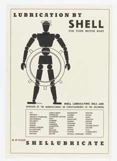 Poster depicts a silhouette of a dummy-like figure with circles for joins steering a ship's wheel. Text in black: LUBRICATION BY / SHELL / FOR YOUR MOTOR BOAT; SHELL LUBRICATING OILS ARE / APPROVED BY THE MANUFACTURERS OR CONCESSIONARIES OF THE FOLLOWING [in a box, lists of manufacturers' names]; BE UP-TO-DATE / SHELLUBRICATE.