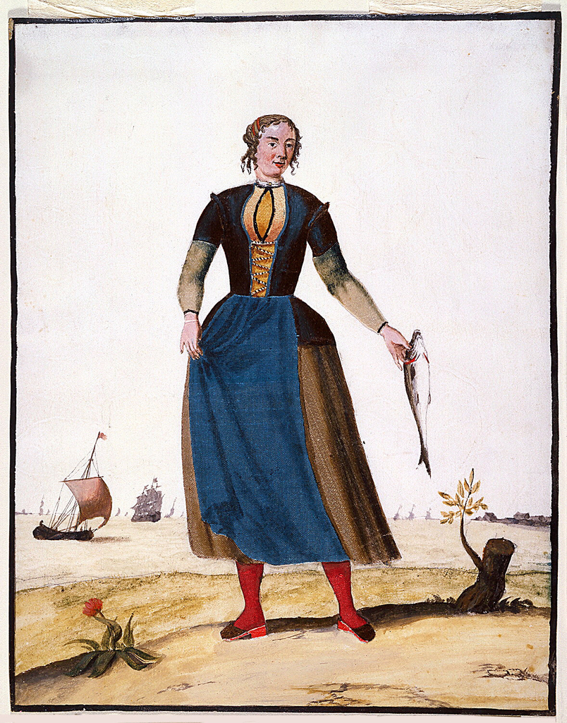 A standing fisherwoman wears red hose and a blue apron.  She holds a large fish in her left hand.  Sailing craft visible in the background, and a flower and stump in the foreground.