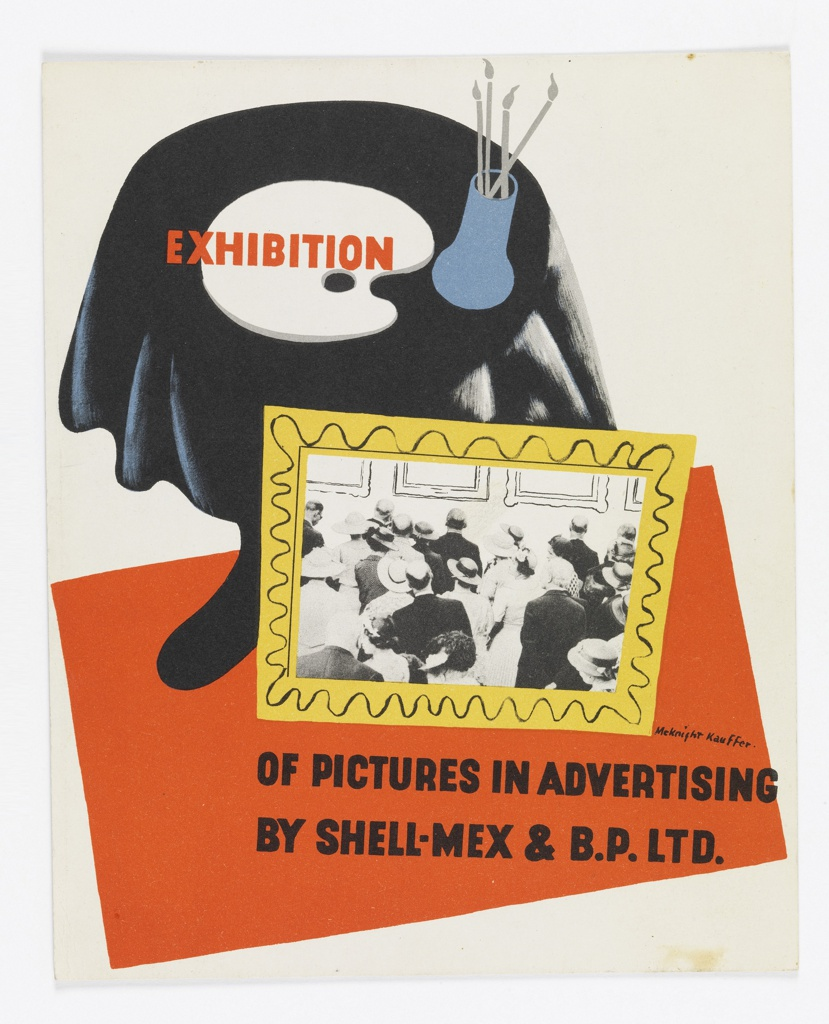Advertisement for a Shell-Mex & B.P. Ltd. Exhibition. Skewed view of a table covered with a black cloth, a white palette, and a blue vase with brushes in it. On the red floor, leaning against the table is a framed photograph of people looking up at framed works on a wall. Across the palette on the table, in red block sans-serif type: EXHIBITION. At lower right corner, across the red carpet, in black sans-serif type: OF PICTURES IN ADVERTISING / BY SHELL-MEX & B.P. LTD.
