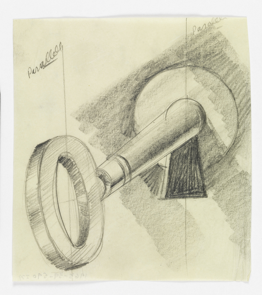 Large foreshortened key with a round handle protruding at an angle from a keyhole at upper right.
