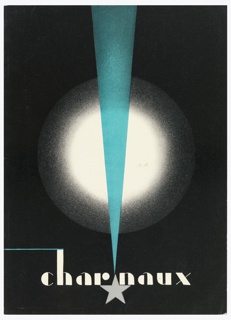 Wholesale catalogue for Charnaux. Front cover in black with a bright white circle in the middle, bisected by a vertical blue triangle, beginning at the top of the page and pointing downwards towards a gray start at center bottom.;Across the bottom in white text: charnaux. Inside the booklet, general descriptions of the corset company, as well as pages for three different models of their product. Each page has text in black and a black and white photograph of a model wearing the product (taken by Maurice Beck). The last page of the catalogue has information on how to be fitted for a corset and how to take care of the garment.
