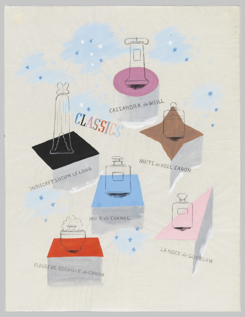 Advertisement for various perfumes. Six different perfume bottles, rendered in black outline, positioned on top of colorful, geometric plinths of different shapes. A starry blue sky is indicated in between each bottle. Pink round platform at top, is labeled in block text: CASSANDRA de WEILL; below and to the right on a brown, diamond platform: NUITS de NOEL CARON; to the left, on a black rectangular platform: INDISCRET LUCIEN LE LONG; below, centered between the two, on a blue square platform: NO 5 de CHANEL; at bottom left, on a red rectangular platform: FLEURES DE ROCAILLE de CARON; to the right, slightly above, on a pink triangular platform: LA NOCE de GUERLAN [sic]. In multicolor text, at center: CLASSICS.