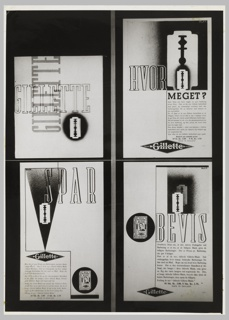 A black and white photograph of four advertisements for Gillette, arranged in two rows of two. On upper left advertisement, a razor and the word GILLETTE [written twice, and intersecting to form a t-shape] across the surface. On upper right advertisement: a double depiction of the razor blade with a smaller blade superimposed on a bigger blade, and copy in Danish. At bottom left advertisement, copy in Danish with a depiction of a blade on a black, inverted-triangular ground and a depiction of the razor blade packaging. At bottom right advertisement, copy again in Danish with a double depiction of the razor blade (both the same size, overlapping), and a depiction of the razor's packaging. HVOR / MEGET? / GILLETTE; a block of text.