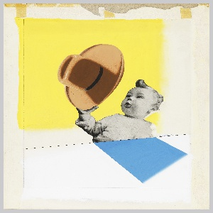Study for an advertisement or poster, likely for Stetson Hats. At center, a black and white photograph of a baby collaged on the page, seeming to hold a large brown cowboy hat, against a yellow ground. Below photo of baby, a blue angled rectangle positioned like an abstracted shadow. Graphite framing lines surrounding the image.