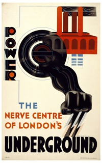Poster design promoting the electrical power of the London Underground. At center, a spinning black wheel from which extends a black arm with clenched hand. Lightning bolts issue from the fist. At upper right, a red power plant. Imprinted in red, blue, and black, left margin and lower left portion: POWER / THE / NERVE CENTER / OF LONDON'S / UNDERGROUND.