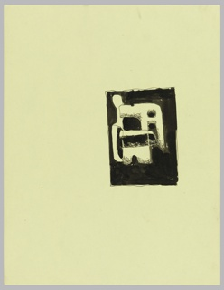 Study for an abstract composition. At center right, an abstract biomorphic composition, contained within a black rectangle.