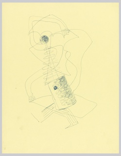 Study of an abstract figure with arm raised. The figure's head and neck are formed from a shape resembling an antenna. The figure's body resembles an oil canister. Over the figure, seemingly-randomly curved lines.