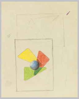 At bottom half of page, an abstract composition featuring three overlapping triangles in yellow, red, and green, with a blue sphere at the center. This composition is surrounded by rectangular framing lines in graphite. Above, a second, partially rendered, abstract composition.