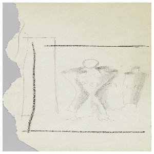 Study of a figure. At center, a faceless figure wrapped in a sheet of paper that reads: POSTER. The composition is surrounded by a black rectangle, indicating framing. Left edge of page is irregular and torn.