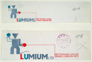Abstract standing figure at left with a blue dot and a red dot for hands. Below: LUMIUM LTD / BRETTENHAM HOUSE / STRAND LONDON W C 2.