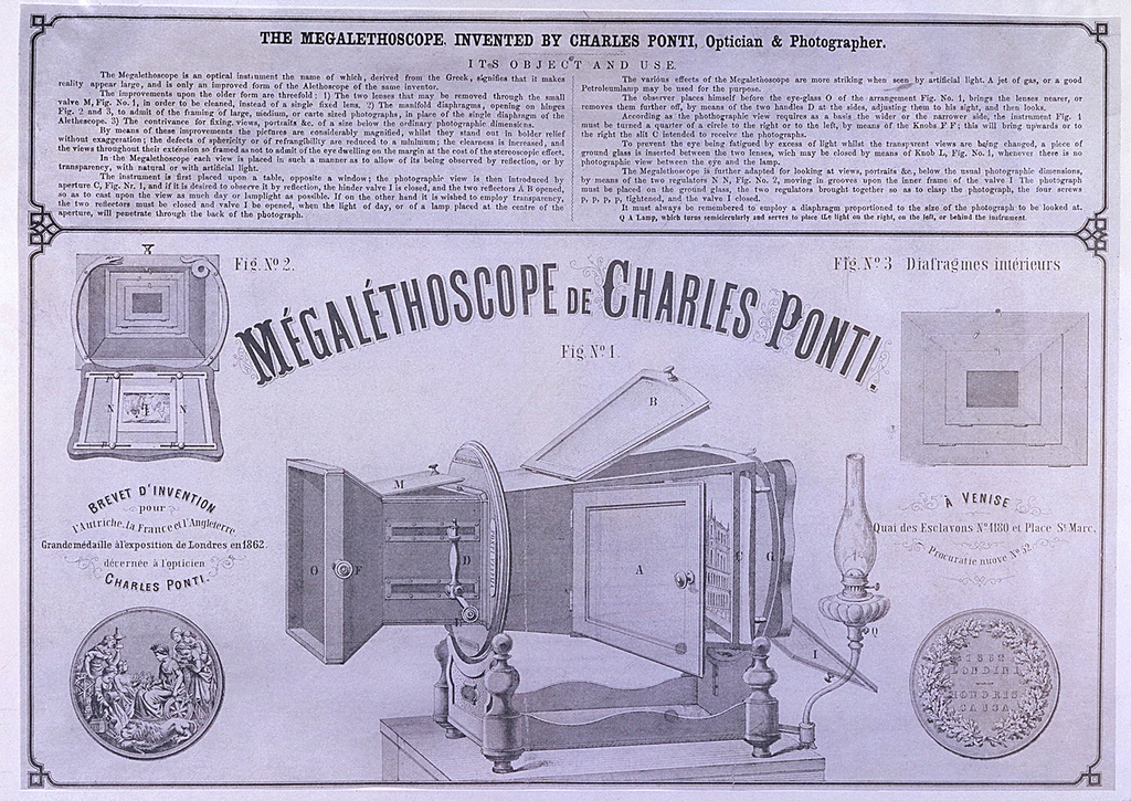 The advertisement is titled, Mégaléthoscope de Charles Ponti, with a picture below, and each part lettered. Above and below, faces of a medal awarded by the London Exposition in 1862 to the inventor, Charles Ponti. Above, a description and key in English.