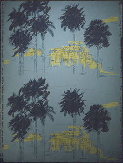 Small nests of coastal buildings splashed with yellow behind tall palm trees, tops washed in brown. Blue drawing on gray board.