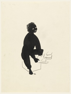 Black silhouette of a black boy. Eyes and mouth left white and outline in line of the shoe he is shining.