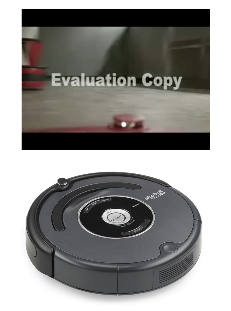 Repurposed Roomba vacuum cleaner with video camera.