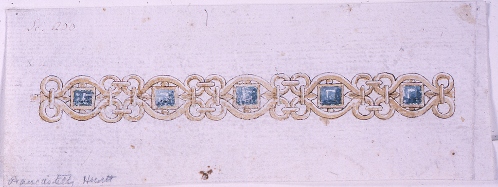 Five repeating units. In the center of each, a blue square diamond. The framing scrolls form pointed ovals.
