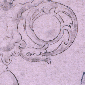 The half figure of a boy with outstretched arms resting upon scrolls of rinceaux who form the legs and frame two gems. A gem dropping below. Above, a ring.