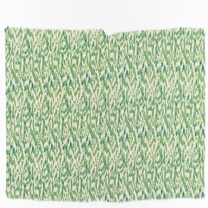 Strip of printed dress silk with an overall pattern of the word 'it' in various sizes in green on an off-white ground, sometimes overlapping to give blue.