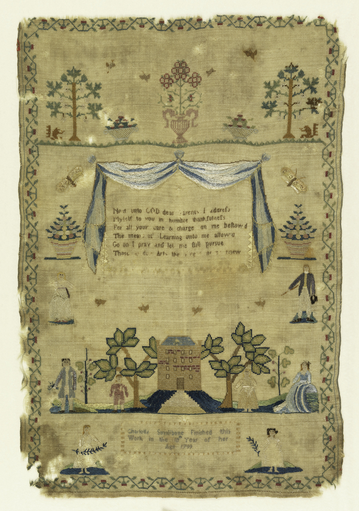 """Trees, baskets of flowers, verse, house with trees and people.  Signature """"Charlotte Smallbone finished this sampler in the 10th year of her age 1799.""""  Surrounded by a floral border."""