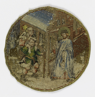 Five small roundels embroidered in colored silks and gold. Three illustrate scenes from the legend of St. Catherine of Alexandria; two others scenes from the life of St. Martin.