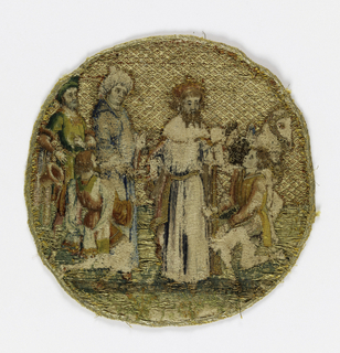 Five small roundels embroidered in colored silks and gold.  Three illustrate scenes from the legend of St. Catherine of Alexandria;  two other scenes from the life of St. Martin.