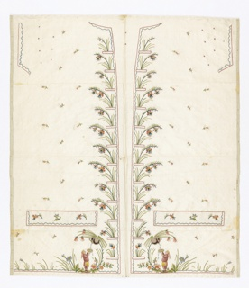 Panel containting the left and right fronts, lapel revers and button covers of a gentleman's waistcoat. Pattern of flowers and chinoiserie figures.