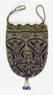 Pouch-shaped bag drawn together at bottom with a tassel; drawstring closure. Dark blue beads for an Art Nouveau pattern on a clear glass bead ground.