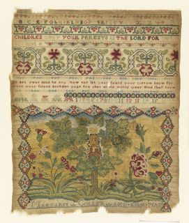 "Designs referencing reign of Charles II (ruled 1630 -1685).  Alphabet, numbers, monograms, and flowering vines. Sampler reads: ""Children obey your parents in the Lord for this is right."" 