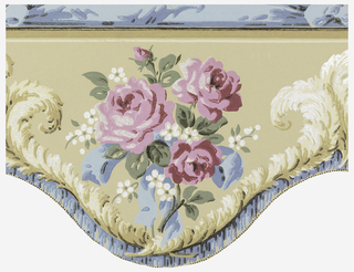 Cut-out Art Deco valance with waved lower edge; Design with large bunch of red roses and white primroses tied with blue ribbon; white ostrich feathers, blue ribbons, and small black beading line lower edge; thin frieze of knotted blue ribbon along top edge; watercolor-like rendering with naturalistic shading and coloring; beige ground.