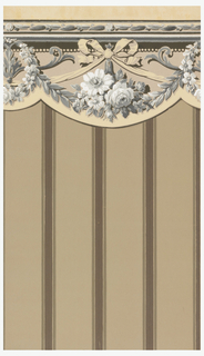 Scalloped Art Deco/Neo-Victorian valance with design of a cluster of roses dangling from a ribbon tied into a large bow; on either side a wreath of roses encircle a flaring, v-shaped arabesque; leafy garlands follow the scalloped edge; thin frieze at the top with chain of leaves; naturalistic block-print shading and detailing; color scheme is in shades of white, black, and green-gray except for tan band along the scalloped edge and tan highlighting on the ribbon.