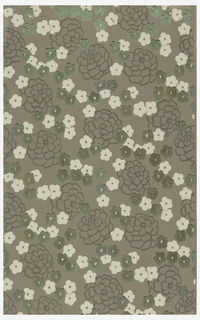 Large and small floral motifs on gray