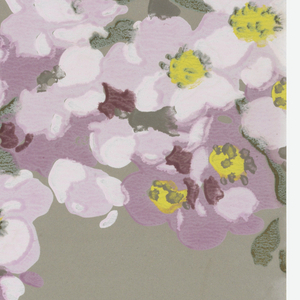 Blossoms on trellis on gray and blue ground