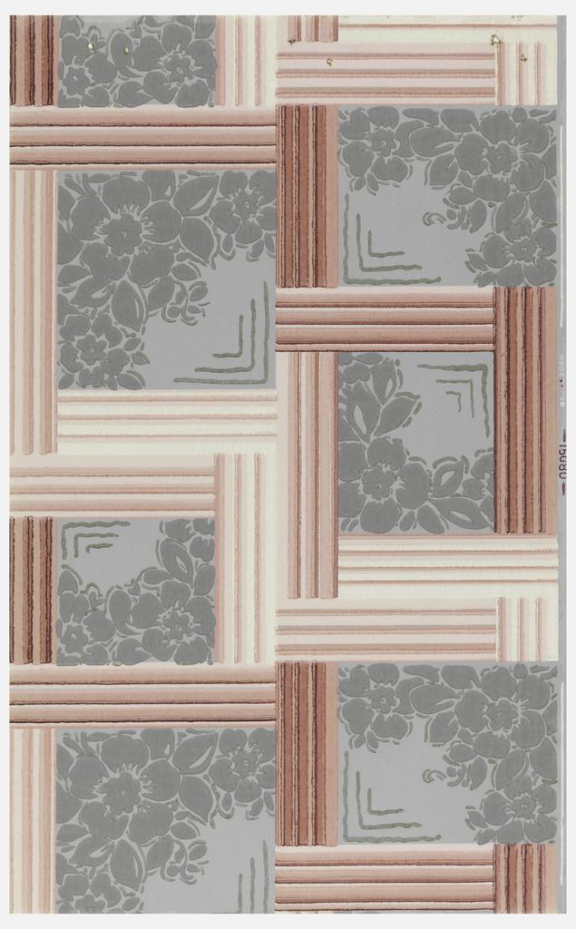Pink framework enclosing floral motifs, on gray ground