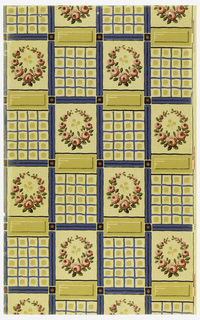Varnished tile design; rose wreath alternating with grid design